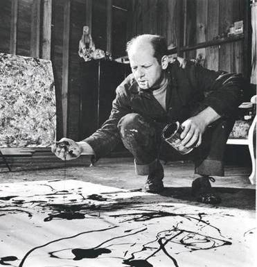 948989: (00/00/1949) Painter Jackson Pollock, cigarette in mouth, dropping paint onto canvas. 29Pollock Jackson Pollock: Blind Spots at the Dallas Museum of Art. November 20, 2015 to March 20, 2016.